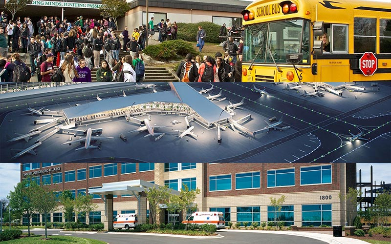 Collaborative Response Graphics can be used on many different locations including schools, airports, and hospitals.